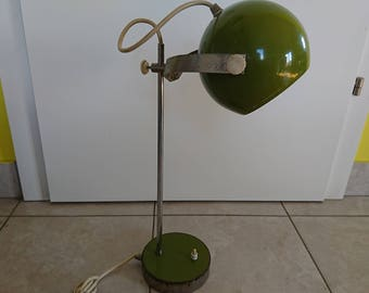 Vintage Desk Lamp, Green lamp from 1960's, Industrial Lighting, Retro lamp