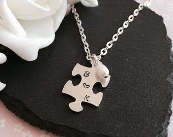 Hand-stamped Necklace, Puzzle Necklace, Personalised Necklace, Initial Necklace, Stocking gift