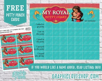 Printable Elena of Avalor Royal Potty Training Chart, FREE Punch Cards | High Resolution JPG File, Instant Download