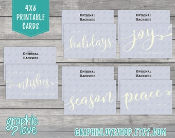 CLEARANCE SALE Printable Holiday Greeting Cards, Set of 5 designs shown | Digital Vector PDF File, Instant Download, File Not Editable