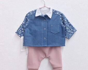 Mini pink leggings + denim blouse