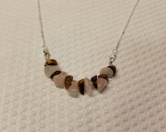 Rose Quartz and tigers eye necklace