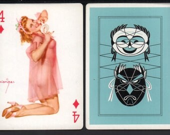 Alberto Vargas 1950's Vargas Girl Playing Card Swap Card 4 OF DIAMONDS Near Mint / Mint