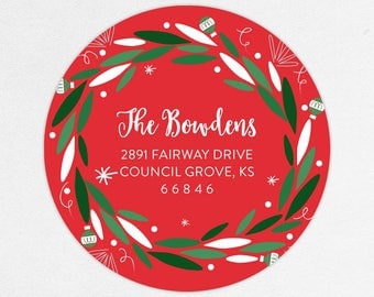 24 HOUR DIGTIAL FILE, Christmas Return Address Labels, Holiday Return Address Labels, Christmas Address Labels, Wreath Address Labels
