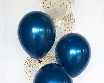 Navy and Gold Confetti Latex Balloons~Navy & Gold Party Decor~Baby Shower~Bridal Shower~Wedding~Birthday~Gold Confetti Look Balloon