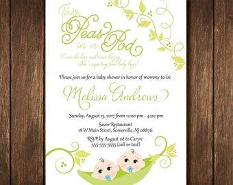 Peas in a Pod Twin Baby Shower Invitation - Custom Digital Copy