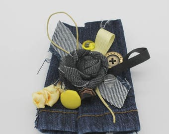Handmade jeans jewelry brooch