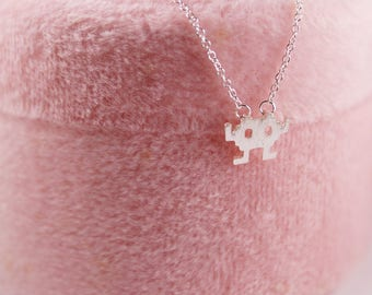 Space Invader Necklace Silver Plated Free Gift Box
