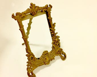 Vintage Easel Picture Frame and Glass/Solid Brass.