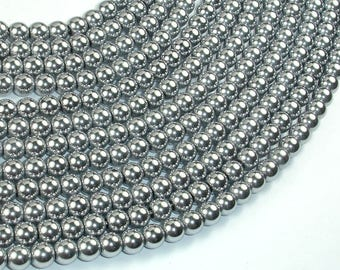 Hematite Beads-Silver, 6mm Round Beads, 16 Inch, Full strand, Approx 74 beads, Hole 1mm, AA quality (269054011)