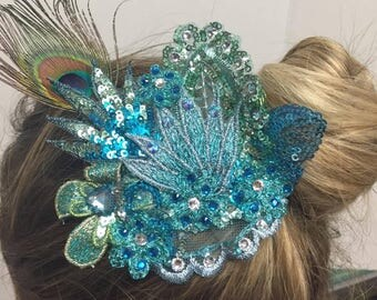 blue peacoch feather hair clip