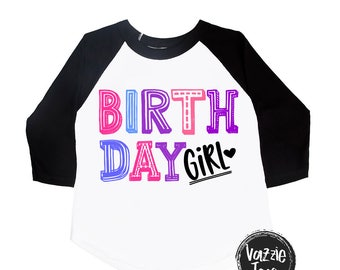Birthday Girl Shirt - Rainbow Birthday - Pink and Purple - Birthday Shirts - Girls' Birthday Shirts - Trendy Birthday Shirt - Girls' Shirts
