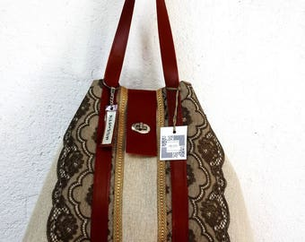 TOTE BAG IN LINEN AND LACE/TAN LEATHER HANDLES