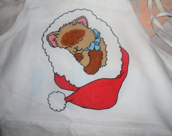 Christmas Kitty Hand Painted Adult Apron