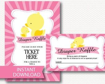 Diaper Raffle Ducks Girl Baby Shower Invitation Insert Instant Download Duck Baby GIRL Diaper Raffle Ticket Insert printable files Pink B115