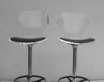 vintage lucite and tulip base swivel bar stools a pair