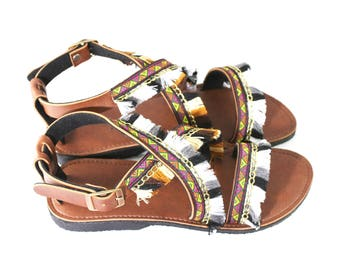Sandal handmade shoes /mhong sandal shoes/mhong flip flop/ leather sandal/ flip flops handmade shoes - Hill tribe shoes with leather
