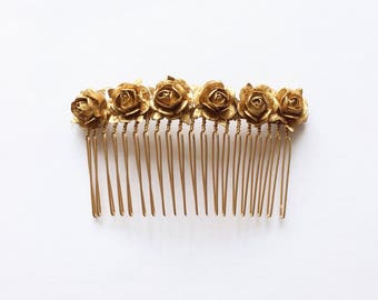 Gold Rose Hair Slide   Floral Hair Comb