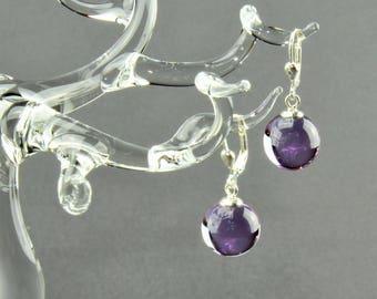 Earrings ball / Brisur 925/000 Silver rhodium plated, lilac
