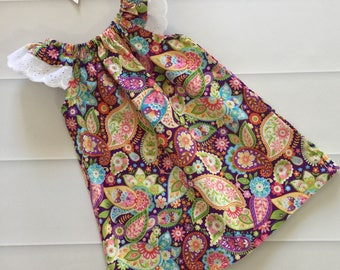 Girls Dress, size 4, Flutter Sleeve Dress, baby dress, baby gift, paisley, purple, toddler dress, summer dress, party dress, ready to shi
