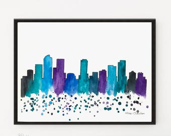 Denver Skyline, Printable art, City art, Watercolor Painting, Illustration, Travel art, Art Print, Modern Wall art, Home Decor, cityscape