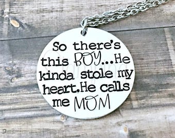 So There's This Boy | Stole My Heart | Mother Son Necklace | Mother Gift | Mom Necklace Kids Names | Mom Name Necklace | Mom Gifts
