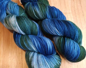 Silky Sock Yarn, Hand Dyed Yarn, Merino, Mulberry Silk  SW, 437 yards