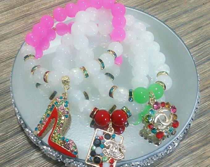 Designer Inspired Charm Bracelet Set