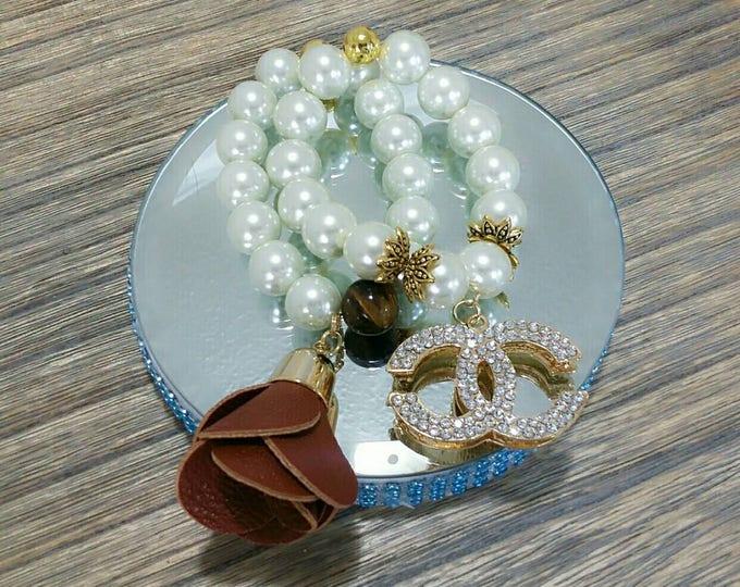 Designer Inspired Chunky Tiger's Eye and Pearl Beaded Charm Bracelet Set