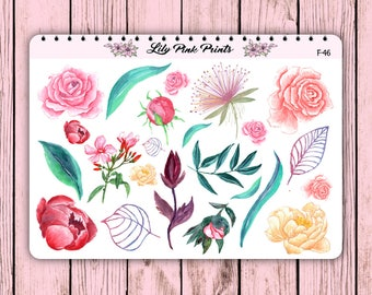 23 Flower Set 2 Stickers F-46 - Perfect for Erin Condren Life Planners / Journals / Stickers.
