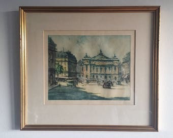 Marcel Julien Baron Signed Hand Colored Etching c. 1920's