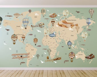 World map wall decal etsy avitation world map decal airplane map wall decal clear vinyl decal nursery room gumiabroncs Image collections