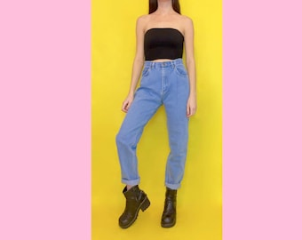 Vintage 90s High Waisted Light Waisted Tapered Mom Jeans Size 4 Size 6