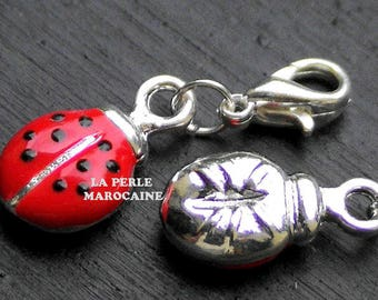 1 PEARL 15 * 10 MM RED LADYBIRD CHARM AND GREEN GAMMEE SILVER