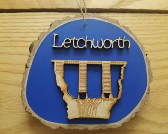 Letchworth Ornaments,Letchworth State Park,Letchworth Gifts,Letchworth Souvenirs,Christmas Ornaments,Wood Disk Ornaments,Train Ornaments