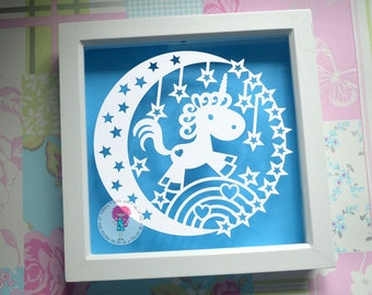 Unicorn paper cut svg / dxf / eps / files and pdf / png printable templates for hand cutting. Digital download.
