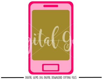 Mobile Phone / Cell Phone svg / dxf / eps / png files. Digital download. Compatible with Cricut and Silhouette machines.