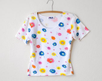 Vintage 1990's FILA Terry Cloth Top with Flowers