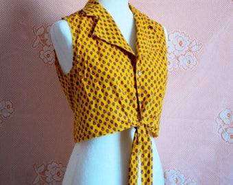VINTAGE 70s yellow tie waist sleeveless crop top size S