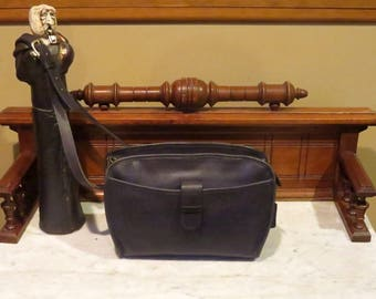 Spring Sale Coach Brighton Bag In Navy (Black?) Leather With Adjustable Crossbody Strap- Style No 9895 - Made in USA - VGC
