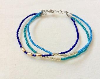 Handmade Beaded Stack Bracelet in Blue & Gold