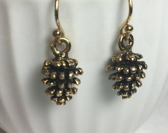 Pine Cone Earrings - Gold Pine Cone Earrings - Fall Earrings - Dangle Earrings - Drop Earrings - Gift for Her - Handmade Jewelry - Birthday