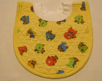 Bears Pop-on Quilted Baby Bib