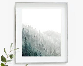 Watercolor Evergreen, Evergreen Trees, Forest Print, Watercolor Forest, Watercolour, Green Wall Art, Mountain Home Decor, Mountains Print