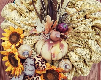 Fall Wreath Thanksgiving Decor,Fall Front Door Welcome Wreath,Fall Wreath, Fall Wreath decor,Autumn Wreath Fall Decor,Halloween Wreath