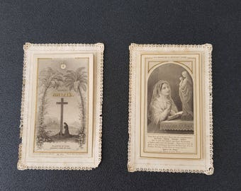 2 french antique lace canivets, prayer cards, holy cards, christian saint cards, Canivets with Letaille system, opening holy cards