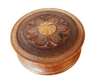 small french vintage wooden box, vintage wooden trinket box, Brittany box