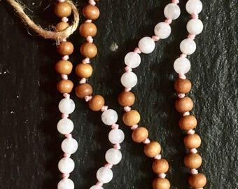 Moonstone and Sandalwood Mala Necklace