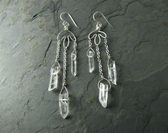Swaying quartz chandelier earrings