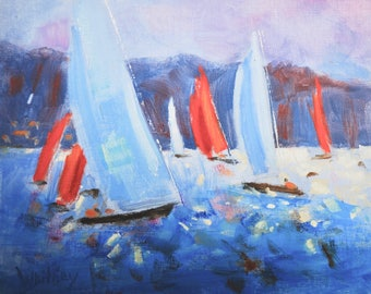 Landscape oil painting, Abstract oil painting, Original oil painting, oil painting, Sailboats, Valentines Gift, Oil on Canvas, Sue Whitney